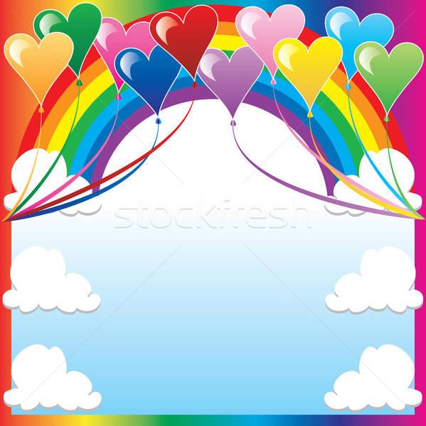 Hart ballon 10 ballonnen kleurrijk plaats Stockfoto © BasheeraDesigns