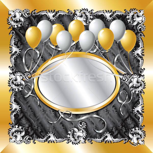 Arany ezüst léggömb sablon konzerv használt Stock fotó © BasheeraDesigns