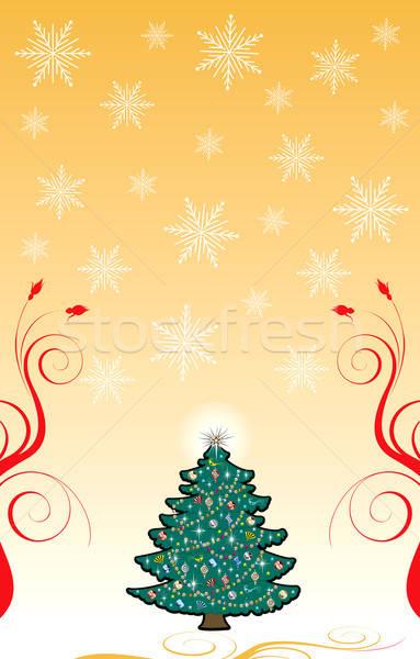 Christmas kerstboom sneeuwvlok blad vogel goud Stockfoto © BasheeraDesigns