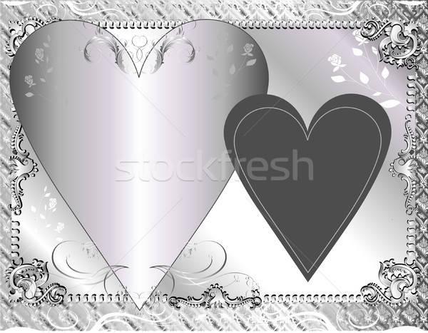 Zilver sjabloon kan gebruikt formeel groet Stockfoto © BasheeraDesigns