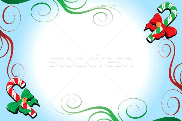Сток-фото: Рождества · конфеты · цветы · зеленый · зима · синий