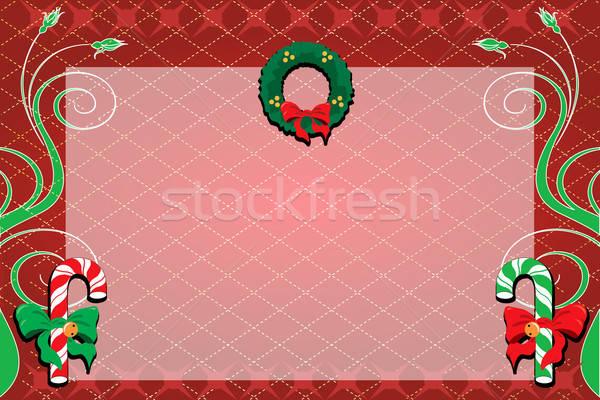 Karácsony dekoratív virágok zöld piros kártya Stock fotó © BasheeraDesigns