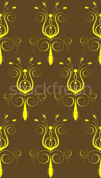 Bruin Geel abstract bloem naadloos boek Stockfoto © BasheeraDesigns