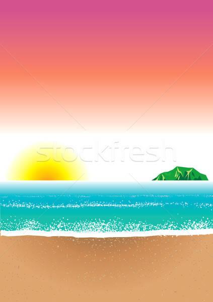 Strand zee zonsopgang goud eiland hot Stockfoto © BasheeraDesigns