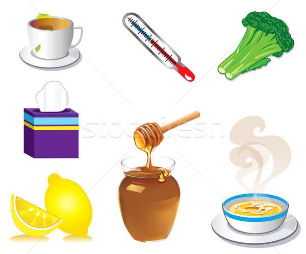 Sick Cold Flu Icons Stock photo © BasheeraDesigns