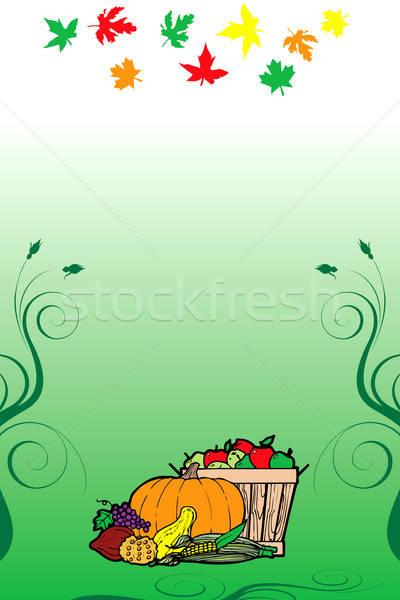 Dankzegging 10 vruchten plantaardige kaart vallen Stockfoto © BasheeraDesigns