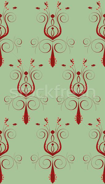 Rood groene abstract bloem naadloos boek Stockfoto © BasheeraDesigns