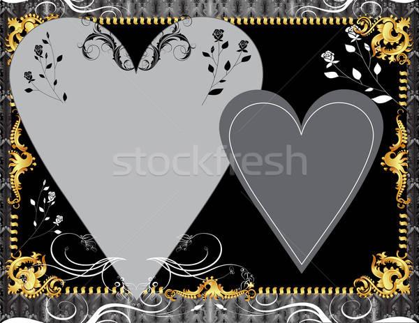 Fekete arany sablon üdvözlőlap meghívó fotó Stock fotó © BasheeraDesigns