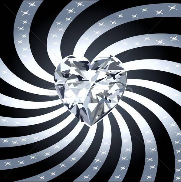 Gyémánt szív piros fényes sugarak szeretet Stock fotó © BasheeraDesigns