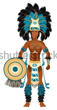 Carnaval Blauw paar kostuum silhouetten man Stockfoto © BasheeraDesigns