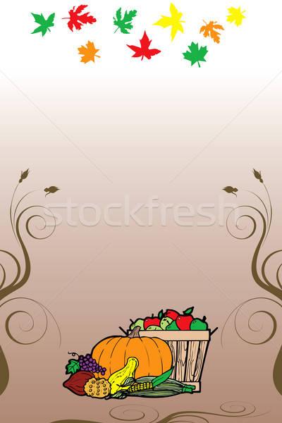 Dankzegging vruchten plantaardige kaart vallen Stockfoto © BasheeraDesigns