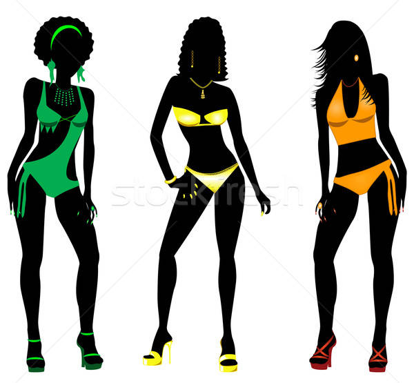 Foto d'archivio: Costume · da · bagno · sagome · tre · diverso · silhouette · donne