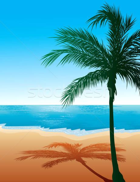 Strand zee goud silhouet eiland hot Stockfoto © BasheeraDesigns