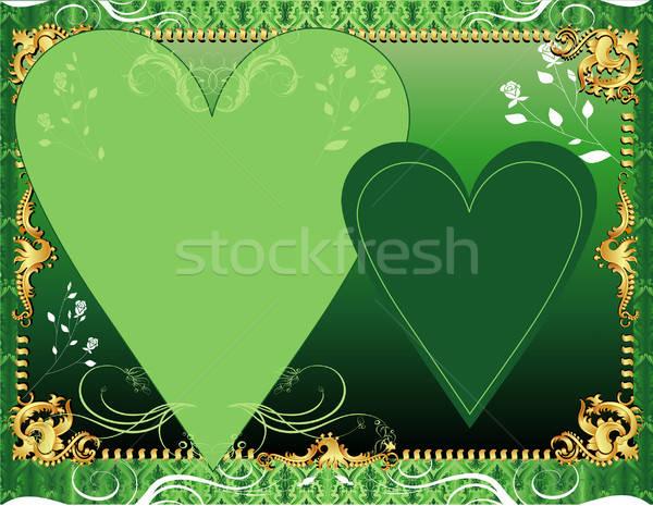 Zöld sablon üdvözlőlap meghívó fotó buli Stock fotó © BasheeraDesigns