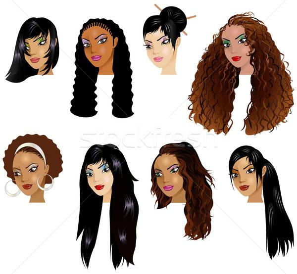 Asian latino vrouwen gezichten groot make Stockfoto © BasheeraDesigns