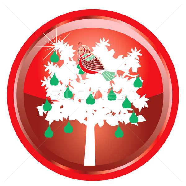 12 Navidad ilustración tarjeta botones árbol Foto stock © BasheeraDesigns