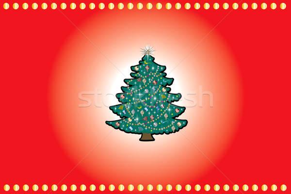 Christmas Rood goud kerstboom natuur ontwerp Stockfoto © BasheeraDesigns