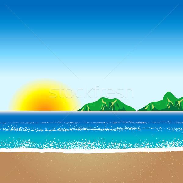 Strand zee zomer goud eiland hot Stockfoto © BasheeraDesigns