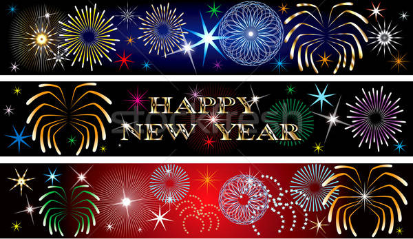 New Year Firework Banners 2 Stock photo © BasheeraDesigns