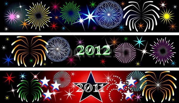 Nieuwjaar vuurwerk banners dag ingesteld hemel Stockfoto © BasheeraDesigns