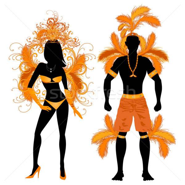 Stockfoto: Carnaval · silhouet · oranje · paar · kostuum · silhouetten
