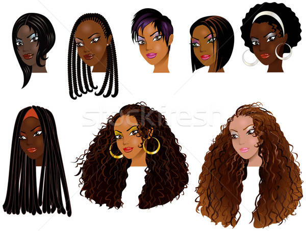 Black Women Faces 2 Stock photo © BasheeraDesigns