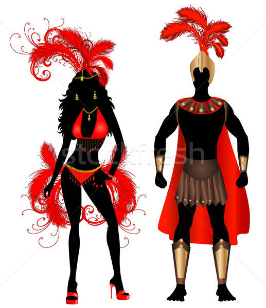 Carnival Silhouette Couple Red Stock photo © BasheeraDesigns