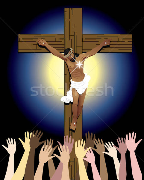Jesus Cross Crowd Stock photo © BasheeraDesigns