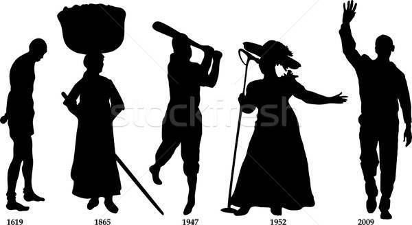 Fekete történelem idővonal hónap mező férfiak Stock fotó © BasheeraDesigns