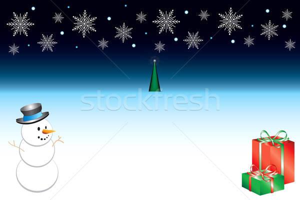 Christmas sneeuwvlok sjabloon natuur sterren groene Stockfoto © BasheeraDesigns