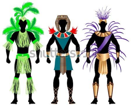 Carnaval paar groene kostuum silhouetten man Stockfoto © BasheeraDesigns