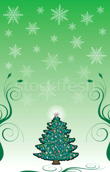 Christmas 10 kerstboom sneeuwvlok blad vogel Stockfoto © BasheeraDesigns
