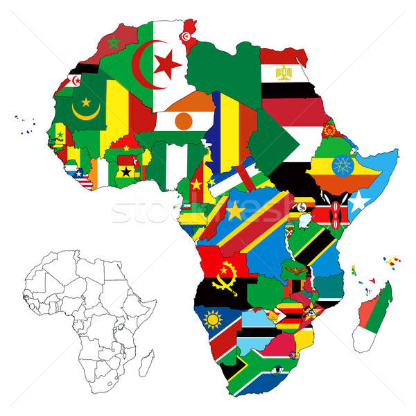 Africa Continent Flag Map Stock photo © BasheeraDesigns
