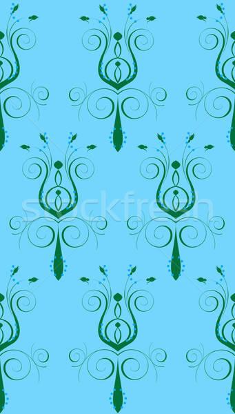 Stockfoto: Blauw · groene · abstract · bloem · naadloos · ontwerp