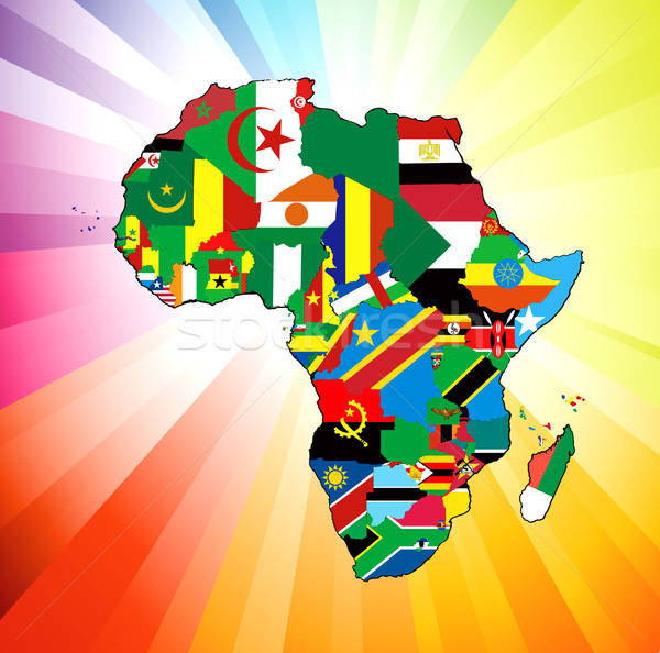 African Continent Flag Map Stock photo © BasheeraDesigns