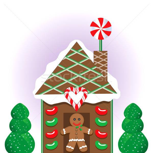 Christmas peperkoek huis man hart frame Stockfoto © BasheeraDesigns