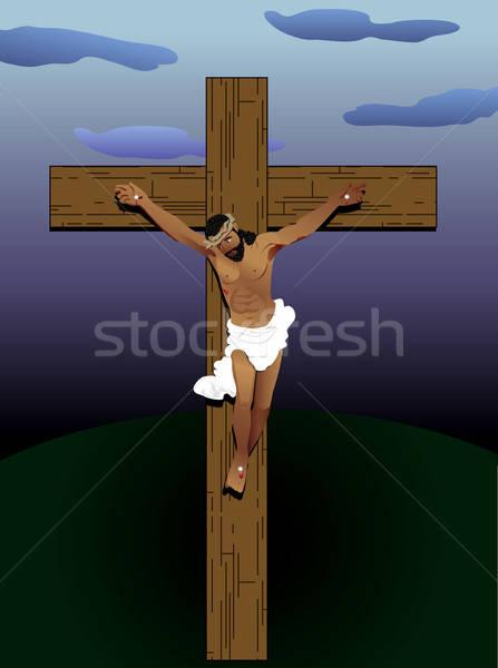 Foto stock: Jesus · atravessar · cristo · cabelo · lã · pele