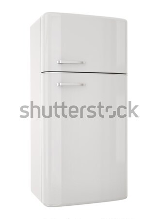 Biały lodówka drzwi tle retro stali Zdjęcia stock © bayberry