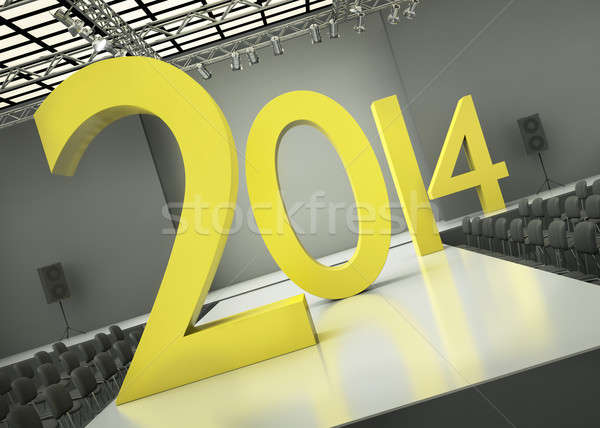Ano 2014 amarelo 3d render abstrato Foto stock © bayberry