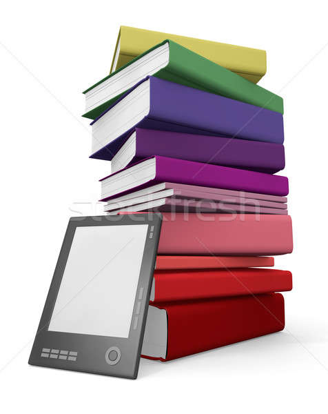 Digitale papier bibliotheek ebook lezer Stockfoto © bayberry