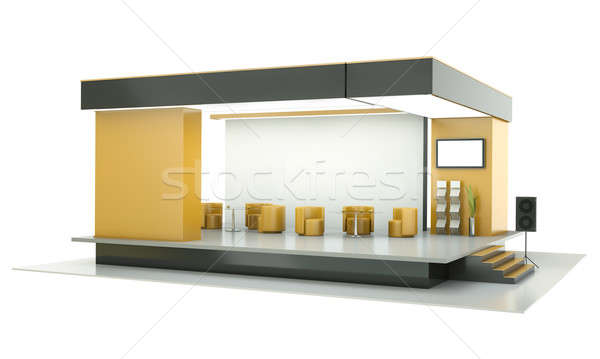 Tentoonstelling stand lege 3d render business oranje Stockfoto © bayberry