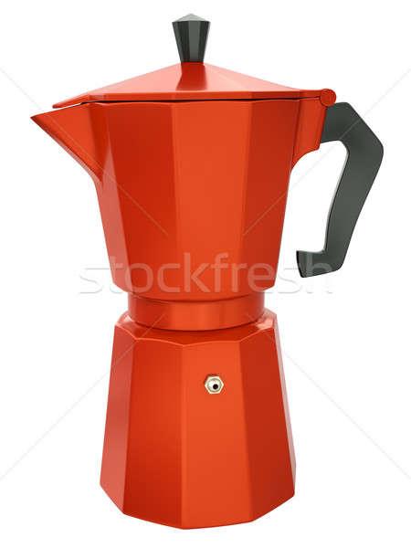 кофеварка красный изолированный белый 3d визуализации кофе Сток-фото © bayberry