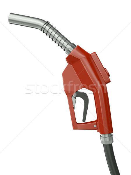 Foto stock: Combustível · bocal · vermelho · isolado · branco