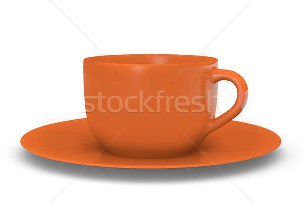 Orange tasse 3D rendu image soucoupe Photo stock © bayberry