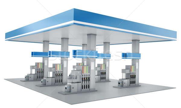 Posto de gasolina isolado branco 3d render espaço azul Foto stock © bayberry