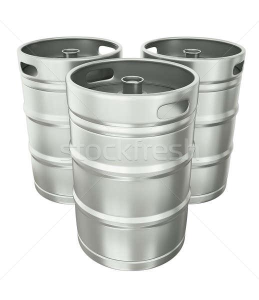 ビール 3  白 3dのレンダリング ドリンク 鋼 ストックフォト © bayberry
