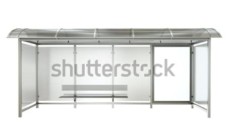 Parada de ônibus bandeira isolado branco 3d render metal Foto stock © bayberry