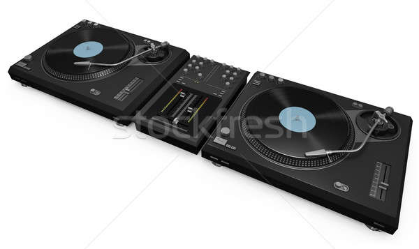 Stock photo: Two turntables and mixer