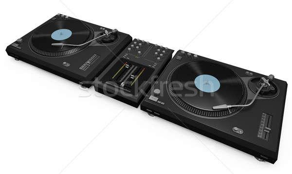 Kettő lemezjátszók keverő magas minőség 3d render Stock fotó © bayberry