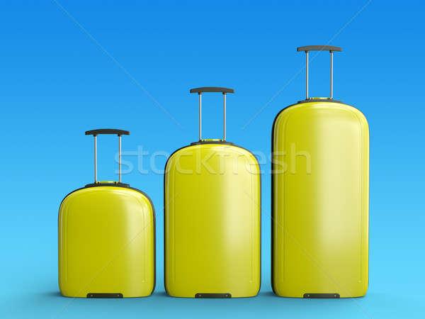 黄色 スーツケース 3  旅行 青 勾配 ストックフォト © bayberry